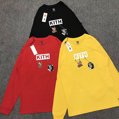 KITH ( キス ) ×Tom and Jerry Jerry LS Tee Friends Cheese コラボ ロングTシャツ
