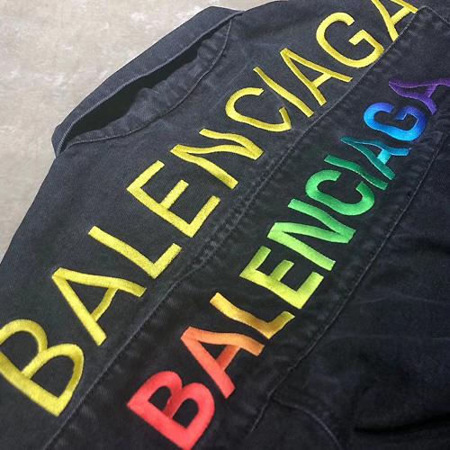BALENCIAGA ( バレンシアガ ) レインボロゴ デニムジャケット FW19