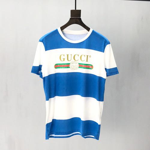 gucci (グッチ)ロゴ ストライプ Tシャツ ホワイト&ブルー 2020